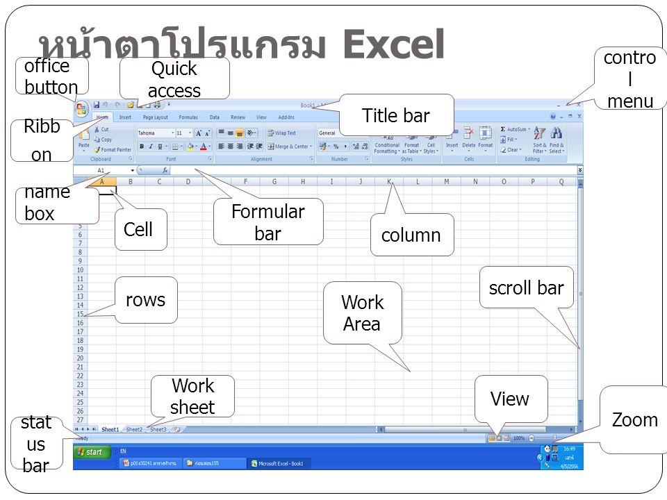 ส่วนประกอบของโปรแกรม Title bar แถบแสดงชื่อ ไฟล์ที่เรากำลัง เปิดใช้งาน Quick Access แถบ เครื่องมือด่วน เราสามารถ กำหนดเองได้แล้วแต่ ลักษณะการใช้งาน Office button,File button รวบรวมคำสั่งที่ใช้ งานกับไฟล์ทั้งหมด Ribbon แถบเครื่องมือที รวบรวมคำสั่งทั้งหมด โดย แสดงเป็นแท็บต่าง ๆ แต่ ละแท็บจะแบ่งเป็นกลุ่ม คำสั่งย่อยลงไปอีก Name box ชื่อของช่อง เซลหรือกลุ่มเซลที่เรา กำลังเลือกอยู่
