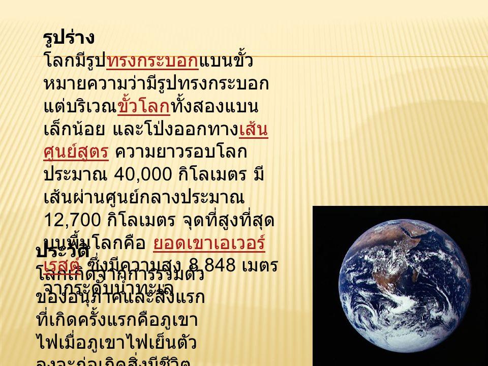 เปลือกโลก เปลือกโลก (crust) เป็นชั้นนอกสุดของโลก ที่มีความหนาประมาณ 6-35 กิโลเมตร ซึ่งถือ ว่าเป็นชั้นที่บางที่สุด เมื่อเปรียบกับชั้นอื่นๆ เสมือนเปลือกไข่ไก่ หรือเปลือกหัวหอม เปลือกโลกประกอบไป ด้วยแผ่นดินและแผ่น น้ำ ซึ่งเปลือกโลกส่วน ที่บางที่สุดคือส่วนที่อยู่ ใต้มหาสมุทร ส่วน เปลือกโลกที่หนาที่สุด คือเปลือกโลกส่วนที่ รองรับทวีปที่มี เทือกเขาที่สูงที่สุดอยู่ ด้วย นอกจากนี้เปลือก โลกยังสามารถแบ่ง ออกเป็น 2 ชั้นคือ กิโลเมตรมหาสมุทรทวีป ชั้นที่หนึ่ง : ชั้นหินไซอัล (sial) เป็นเปลือกโลกชั้นบนสุด ประกอบด้วยแร่ซิลิกาและ อะลูมินาซึ่งเป็นหินแกรนิตชนิด หนึ่ง สำหรับบริเวณผิวของชั้น นี้จะเป็นหินตะกอน ชั้นหิน ไซอัลนี้มีเฉพาะเปลือกโลก ส่วนที่เป็นทวีปเท่านั้น ส่วน เปลือกโลกที่อยู่ใต้ทะเลและ มหาสมุทรจะไม่มีหินชั้นนี้ซิลิกา อะลูมินาหินแกรนิตหินตะกอน ชั้นที่สอง : ชั้นหินไซมา (sima) เป็นชั้นที่อยู่ใต้หินชั้นไซอัลลง ไป ส่วนใหญ่เป็นหินบะซอลต์ ประกอบด้วยแร่ซิลิกา เหล็ก ออกไซด์และแมกนีเซียม ชั้น หินไซมานี้ห่อหุ้มทั่วทั้งพื้นโลก อยู่ในทะเลและมหาสมุทร ซึ่ง ต่างจากหินชั้นไซอัลที่ปกคลุม เฉพาะส่วนที่เป็นทวีป และยังมี ความหนาแน่นมากกว่าชั้นหิน ไซอัลหินบะซอลต์ เหล็ก ออกไซด์แมกนีเซียม