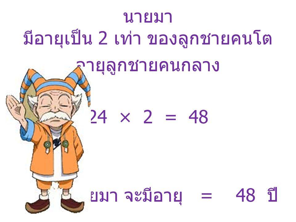 มาคำนวณอายุบุคคลทั้งหมดกัน ลูกชายคนเล็ก อายุ 6 ปี ลูกชายคนกลาง อายุ 12 ปี ลูกชายคนโต อายุ 24 ปี นายมา อายุ 48 ปี 6+ 12 + 24 + 48 = 90 ทั้งหมดอายุรวมกัน 90 ปีพอดี