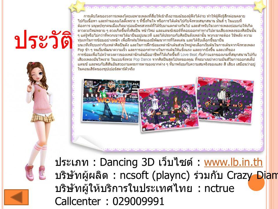 ประวัติ ประเภท : Dancing 3D เว็บไซต์ : www.lb.in.th บริษัทผู้ผลิต : ncsoft (plaync) ร่วมกับ Crazy Diamond บริษัทผู้ให้บริการในประเทศไทย : nctrue Callc