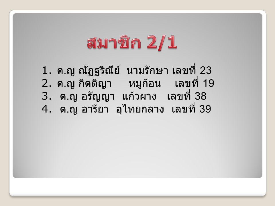 1. ด. ญ ณัฏฐริณีย์ นามรักษา เลขที่ 23 2. ด. ญ กิตติญา หมูก้อน เลขที่ 19 3. ด. ญ อรัญญา แก้วผาง เลขที่ 38 4. ด. ญ อารียา อุไทยกลาง เลขที่ 39