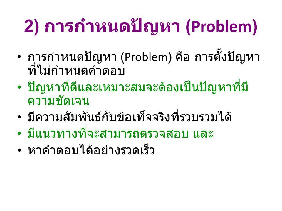 2) การกำหนดปัญหา (Problem) การกำหนดปัญหา (Problem) คือ การตั้งปัญหา ที่ไม่กำหนดคำตอบ ปัญหาที่ดีและเหมาะสมจะต้องเป็นปัญหาที่มี ความชัดเจน มีความสัมพันธ์กับข้อเท็จจริงที่รวบรวมได้ มีแนวทางที่จะสามารถตรวจสอบ และ หาคำตอบได้อย่างรวดเร็ว