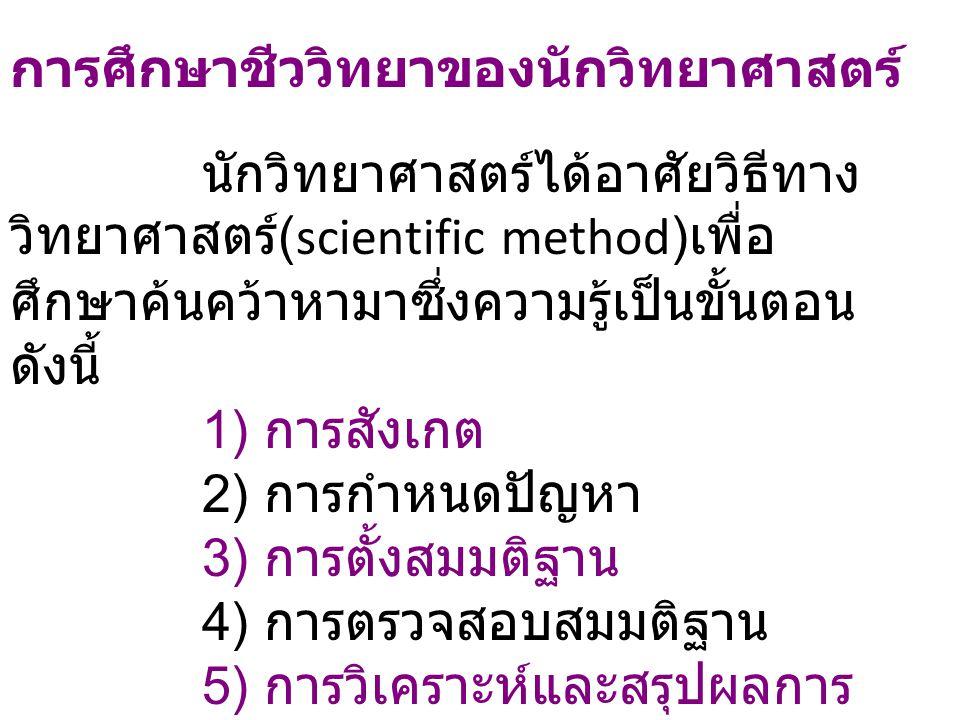 1) การสังเกต (Observation ) การสังเกต (Observation) คือ การใช้ประสาทสัมผัสในการสำรวจ สิ่งต่างๆ ในธรรมชาติเพื่อเก็บ รวบรวมข้อมูล หรือพิจารณา ข้อเท็จจริง จากปรากฏการณ์ ธรรมชาติ ทำให้ผู้สังเกตค้นพบ ปัญหาและต้องการจะค้นหา คำตอบต่อไป