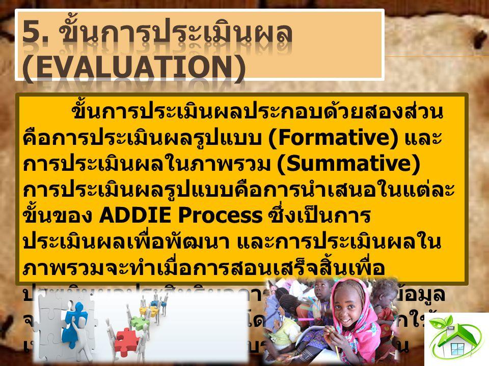 ขั้นการประเมินผลประกอบด้วยสองส่วน คือการประเมินผลรูปแบบ (Formative) และ การประเมินผลในภาพรวม (Summative) การประเมินผลรูปแบบคือการนำเสนอในแต่ละ ขั้นของ ADDIE Process ซึ่งเป็นการ ประเมินผลเพื่อพัฒนา และการประเมินผลใน ภาพรวมจะทำเมื่อการสอนเสร็จสิ้นเพื่อ ประเมินผลประสิทธิผลการสอนทั้งหมดข้อมูล จากการประเมินผลรวมโดยปกติมักจะถูกใช้ เพื่อการตัดสินใจเกี่ยวกับรูปแบบการสอน
