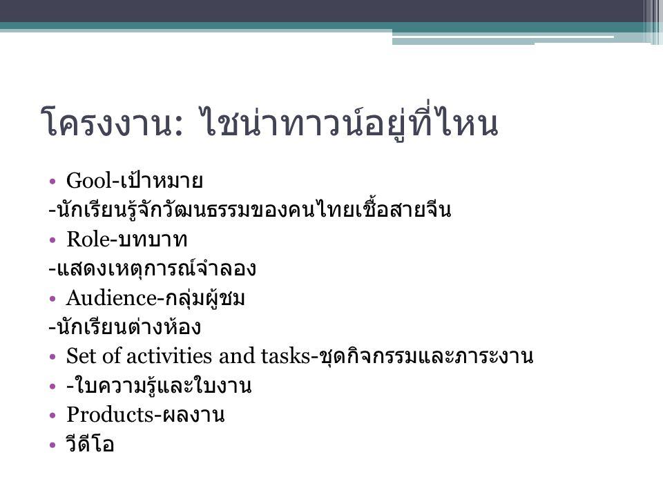 โครงงาน : ไชน่าทาวน์อยู่ที่ไหน Gool- เป้าหมาย - นักเรียนรู้จักวัฒนธรรมของคนไทยเชื้อสายจีน Role- บทบาท - แสดงเหตุการณ์จำลอง Audience- กลุ่มผู้ชม - นักเ