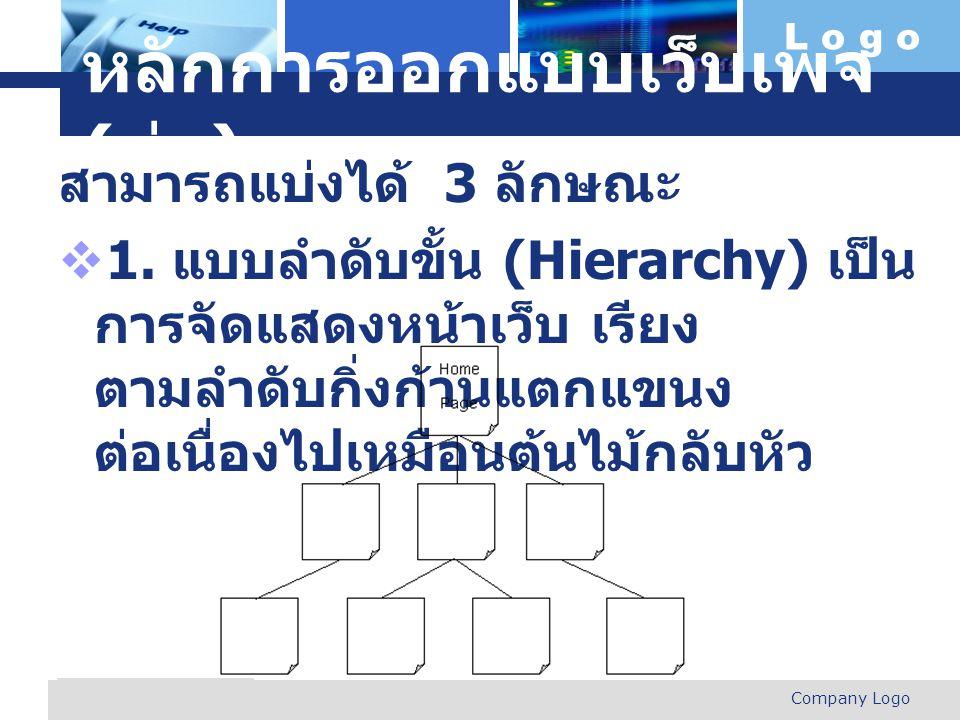 L o g o Company Logo www.themegallery.com หลักการออกแบบเว็บเพจ ( ต่อ ) สามารถแบ่งได้ 3 ลักษณะ  1. แบบลำดับขั้น (Hierarchy) เป็น การจัดแสดงหน้าเว็บ เร