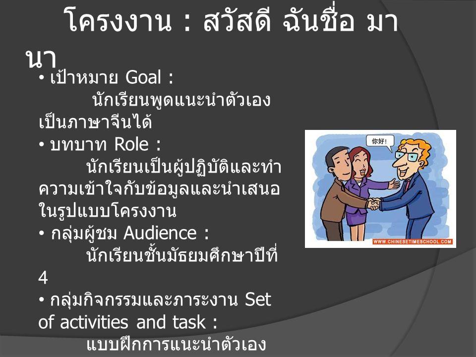 โครงงาน : สวัสดี ฉันชื่อ มา นา เป้าหมาย Goal : นักเรียนพูดแนะนำตัวเอง เป็นภาษาจีนได้ บทบาท Role : นักเรียนเป็นผู้ปฏิบัติและทำ ความเข้าใจกับข้อมูลและนำ