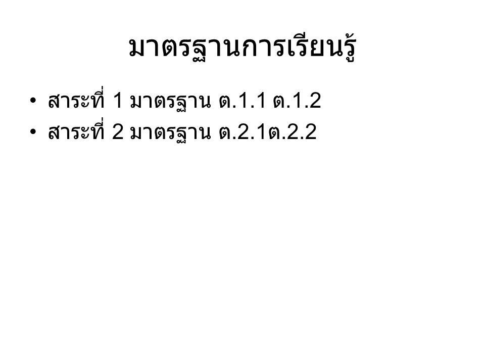 มาตรฐานการเรียนรู้ สาระที่ 1 มาตรฐาน ต.1.1 ต.1.2 สาระที่ 2 มาตรฐาน ต.2.1 ต.2.2
