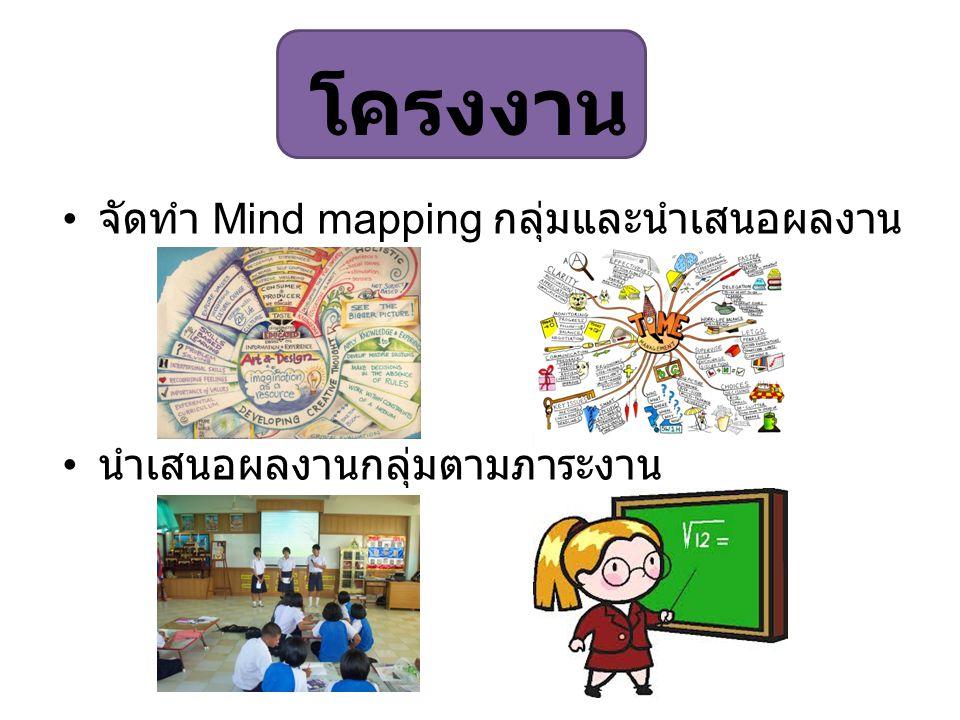 โครงงาน จัดทำ Mind mapping กลุ่มและนำเสนอผลงาน นำเสนอผลงานกลุ่มตามภาระงาน