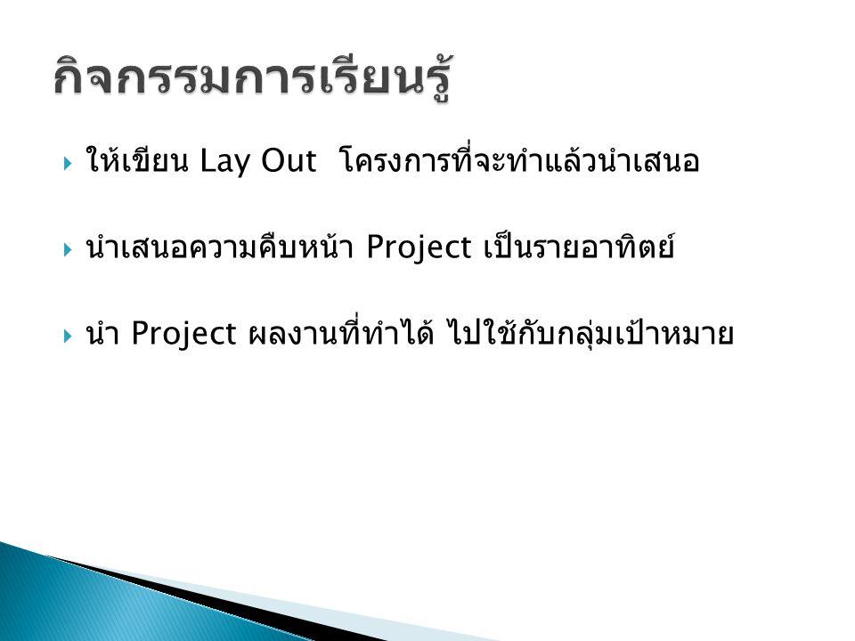  ให้เขียน Lay Out โครงการที่จะทำแล้วนำเสนอ  นำเสนอความคืบหน้า Project เป็นรายอาทิตย์  นำ Project ผลงานที่ทำได้ ไปใช้กับกลุ่มเป้าหมาย