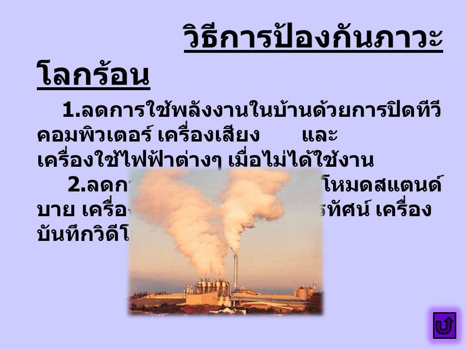วิธีการป้องกันภาวะ โลกร้อน 1.