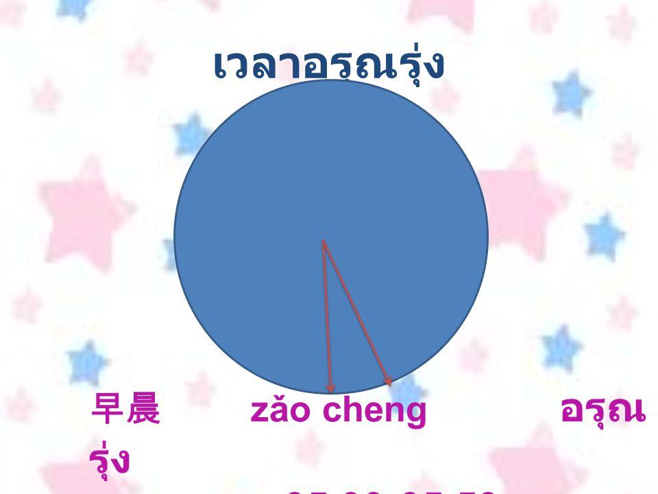 เวลาอรุณรุ่ง 早晨 zǎo cheng อรุณ รุ่ง เวลา 05.00-05.59 น.
