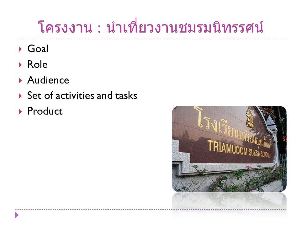 โครงงาน : นำเที่ยวงานชมรมนิทรรศน์  Goal  Role  Audience  Set of activities and tasks  Product