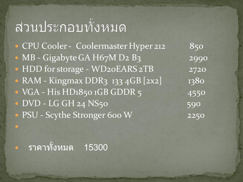 CPU Cooler - Coolermaster Hyper 212 850 MB - Gigabyte GA H67M D2 B3 2990 HDD for storage - WD20EARS 2TB 2720 RAM - Kingmax DDR3 133 4GB [2x2] 1380 VGA - His HD1850 1GB GDDR 5 4550 DVD - LG GH 24 NS50 590 PSU - Scythe Stronger 600 W 2250 ราคาทั้งหมด 15300