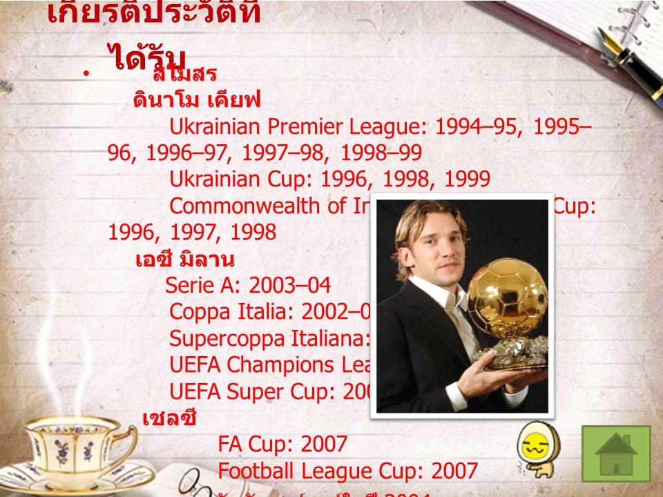 เกียรติประวัติที่ ได้รับ สโมสร ดินาโม เคียฟ Ukrainian Premier League: 1994–95, 1995– 96, 1996–97, 1997–98, 1998–99 Ukrainian Cup: 1996, 1998, 1999 Com