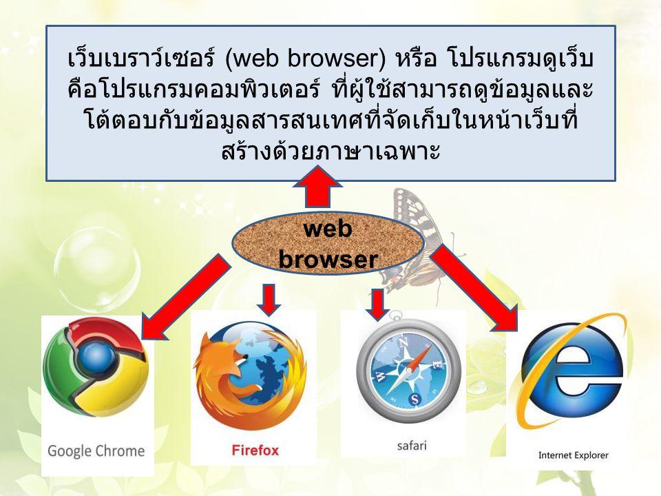 เว็บเบราว์เซอร์ (web browser) หรือ โปรแกรมดูเว็บ คือโปรแกรมคอมพิวเตอร์ ที่ผู้ใช้สามารถดูข้อมูลและ โต้ตอบกับข้อมูลสารสนเทศที่จัดเก็บในหน้าเว็บที่ สร้าง