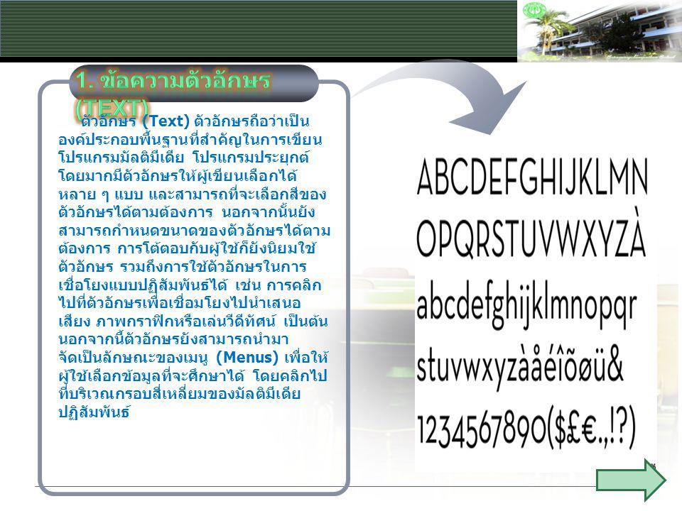 ตัวอักษร (Text) ตัวอักษรถือว่าเป็น องค์ประกอบพื้นฐานที่สำคัญในการเขียน โปรแกรมมัลติมีเดีย โปรแกรมประยุกต์ โดยมากมีตัวอักษรให้ผู้เขียนเลือกได้ หลาย ๆ แ