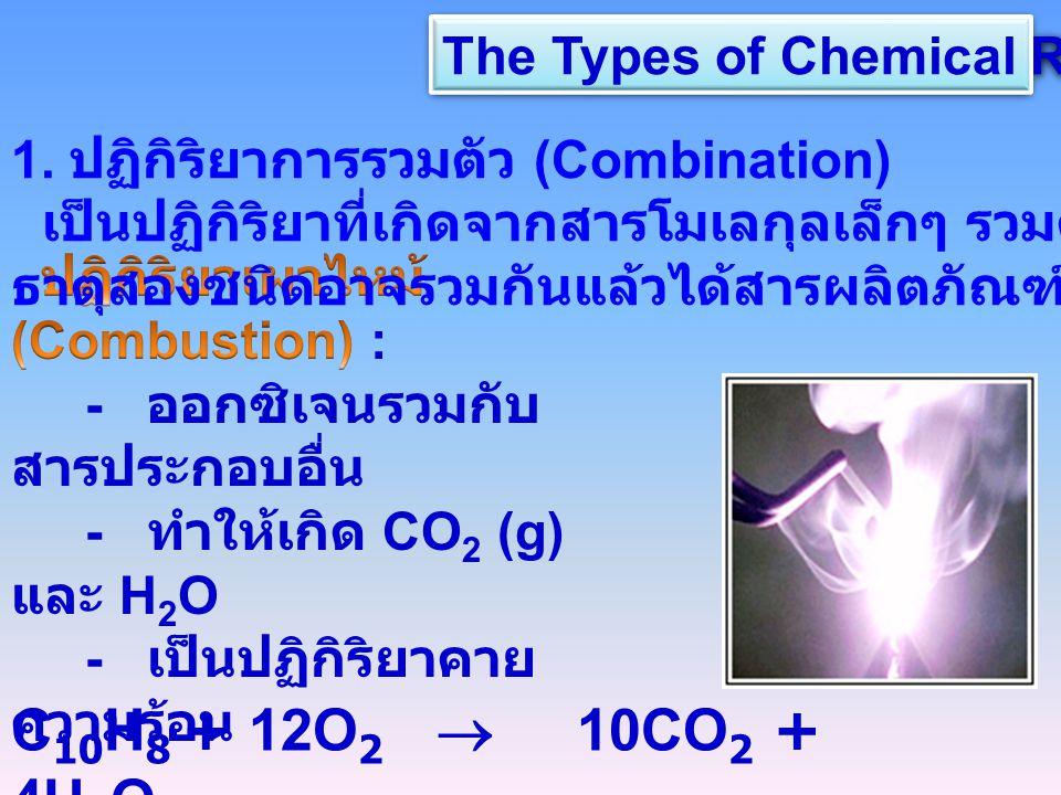 The Types of Chemical Reaction C 10 H 8 + 12O 2  10CO 2 + 4H 2 O 1. ปฏิกิริยาการรวมตัว (Combination) เป็นปฏิกิริยาที่เกิดจากสารโมเลกุลเล็กๆ รวมตัวกัน