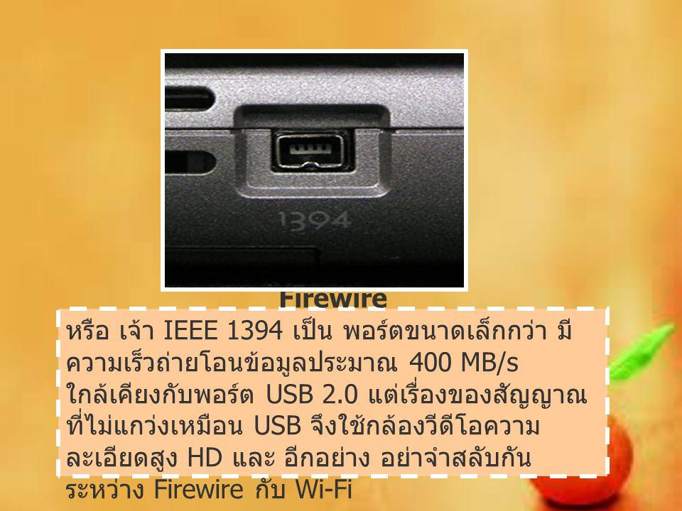 Firewire หรือ เจ้า IEEE 1394 เป็น พอร์ตขนาดเล็กกว่า มี ความเร็วถ่ายโอนข้อมูลประมาณ 400 MB/s ใกล้เคียงกับพอร์ต USB 2.0 แต่เรื่องของสัญญาณ ที่ไม่แกว่งเห