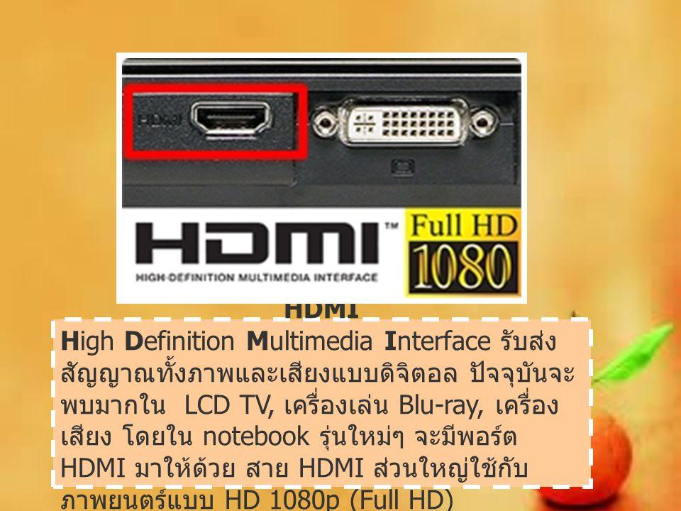 HDMI High Definition Multimedia Interface รับส่ง สัญญาณทั้งภาพและเสียงแบบดิจิตอล ปัจจุบันจะ พบมากใน LCD TV, เครื่องเล่น Blu-ray, เครื่อง เสียง โดยใน n