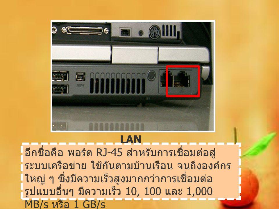 LAN อีกชื่อคือ พอร์ต RJ-45 สำหรับการเชื่อมต่อสู่ ระบบเครือข่าย ใช้กันตามบ้านเรือน จนถึงองค์กร ใหญ่ ๆ ซึ่งมีความเร็วสูงมากกว่าการเชื่อมต่อ รูปแบบอื่นๆ