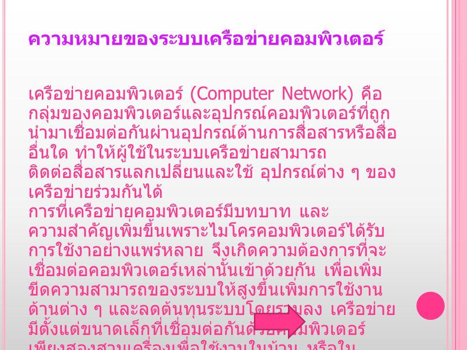 ความหมายของระบบเครือข่ายคอมพิวเตอร์ เครือข่ายคอมพิวเตอร์ ( Computer Network) คือ กลุ่มของคอมพิวเตอร์และอุปกรณ์คอมพิวเตอร์ที่ถูก นำมาเชื่อมต่อกันผ่านอุ