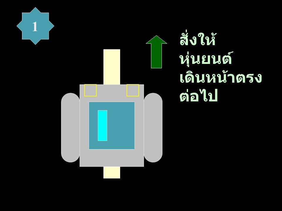 สั่งให้ หุ่นยนต์ เลี้ยวซ้าย เพื่อกลับไป คร่อมเส้น 2