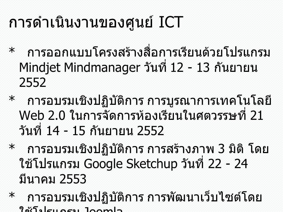 การดำเนินงานของศูนย์ ICT * การออกแบบโครงสร้างสื่อการเรียนด้วยโปรแกรม Mindjet Mindmanager วันที่ 12 - 13 กันยายน 2552 * การอบรมเชิงปฏิบัติการ การบูรณาก