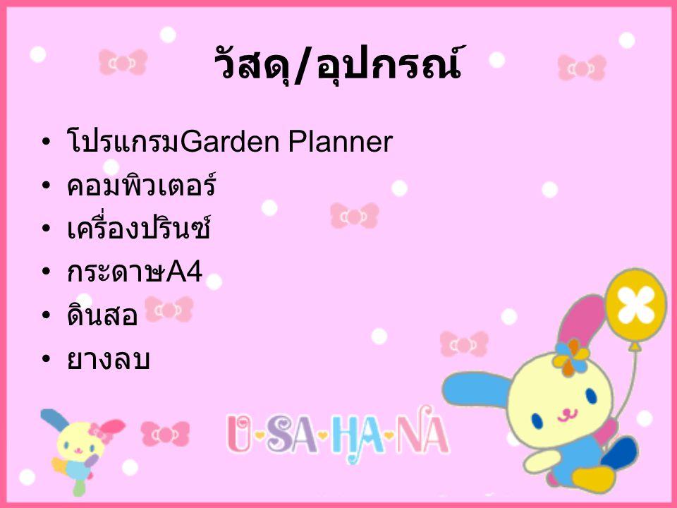 ขั้นตอนการดำเนินงาน วางแผนการออกแบบรูปแบบการจัดสวน ลงมือออกแบบในโปรแกรม Garden Planner ปริ๊นท์งานที่ออกแบบไว้