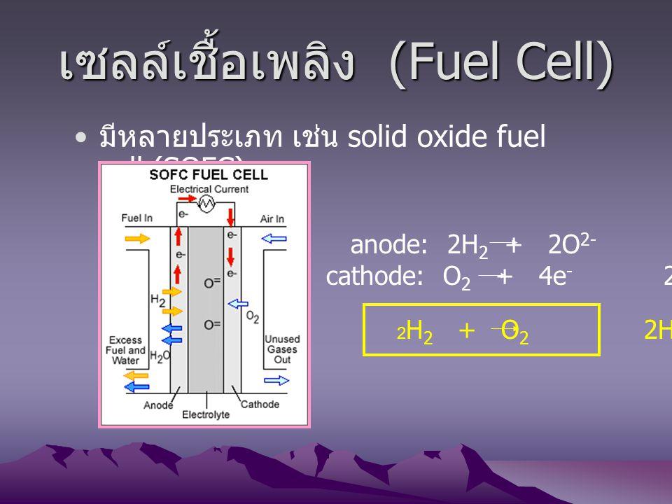 เซลล์เชื้อเพลิง (Fuel Cell) มีหลายประเภท เช่น solid oxide fuel cell (SOFC) anode: 2H 2 + 2O 2- 2H 2 O + 4e - cathode: O 2 + 4e - 2O 2- 2 H 2 + O 2 2H