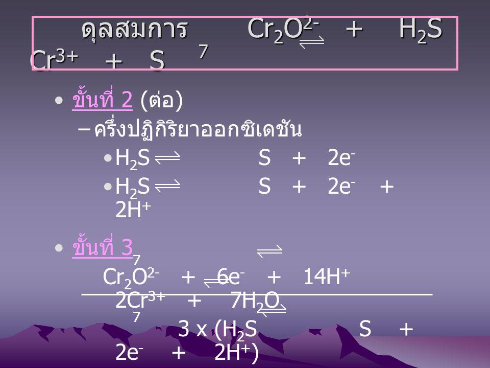 ขั้นที่ 2 ( ต่อ ) – ครึ่งปฏิกิริยาออกซิเดชัน H 2 S S + 2e - H 2 S S + 2e - + 2H + ขั้นที่ 3 Cr 2 O 2- + 6e - + 14H + 2Cr 3+ + 7H 2 O 3 x (H 2 S S + 2e