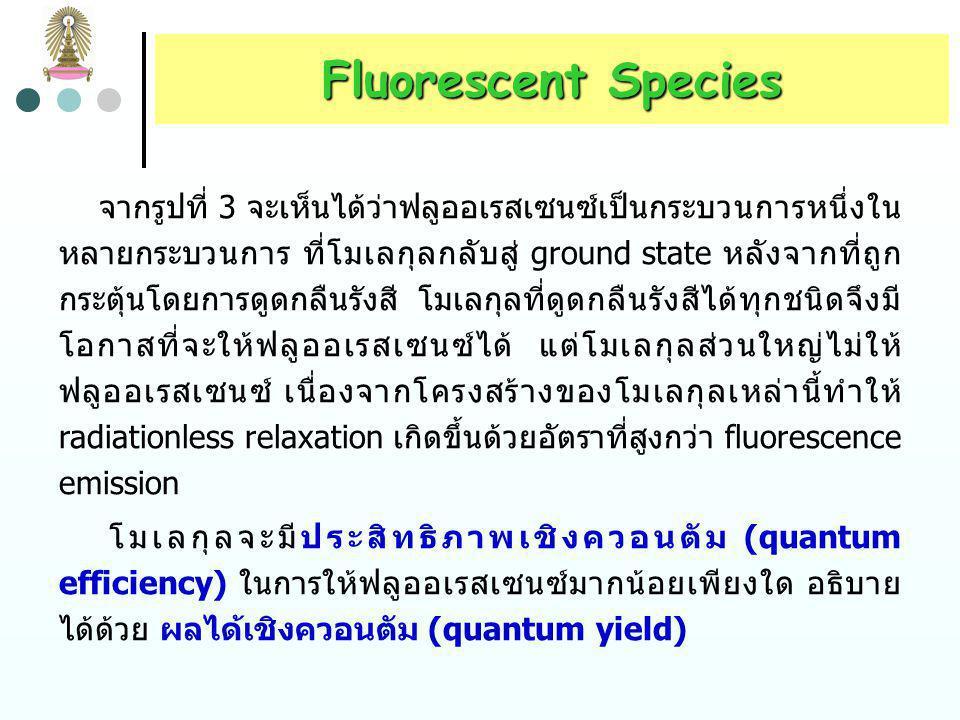Molecular Fluorescence Spectroscopy รูปที่ 3 Excitation และ emission spectrum ของสาร ซึ่งมีลักษณะเป็น mirror images กัน