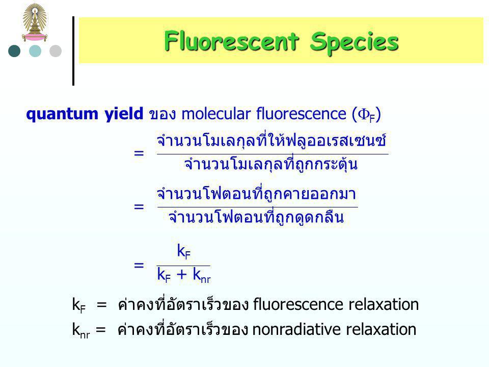 Fluorescent Species จากรูปที่ 3 จะเห็นได้ว่าฟลูออเรสเซนซ์เป็นกระบวนการหนึ่งใน หลายกระบวนการ ที่โมเลกุลกลับสู่ ground state หลังจากที่ถูก กระตุ้นโดยการดูดกลืนรังสี โมเลกุลที่ดูดกลืนรังสีได้ทุกชนิดจึงมี โอกาสที่จะให้ฟลูออเรสเซนซ์ได้ แต่โมเลกุลส่วนใหญ่ไม่ให้ ฟลูออเรสเซนซ์ เนื่องจากโครงสร้างของโมเลกุลเหล่านี้ทำให้ radiationless relaxation เกิดขึ้นด้วยอัตราที่สูงกว่า fluorescence emission โมเลกุลจะมีประสิทธิภาพเชิงควอนตัม (quantum efficiency) ในการให้ฟลูออเรสเซนซ์มากน้อยเพียงใด อธิบาย ได้ด้วย ผลได้เชิงควอนตัม (quantum yield)