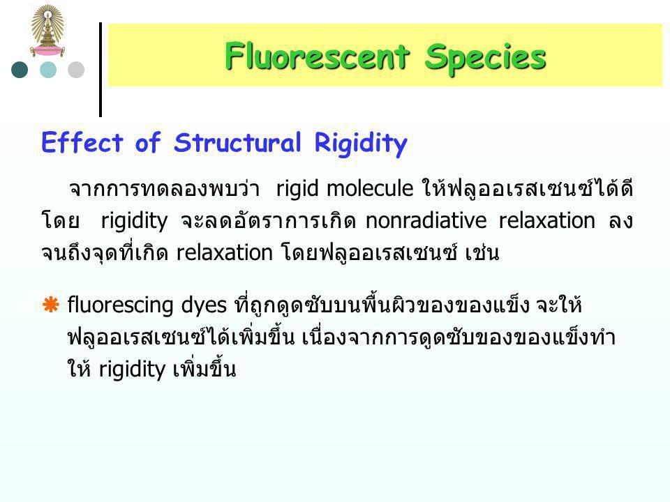 ตารางที่ 1 ผลของการแทนที่บน benzene rings ต่อฟลูออเรสเซนซ์ Fluorescent Species สารประกอบสูตรความยาวคลื่นของ fluorescence Intensity ของ fluorescence be