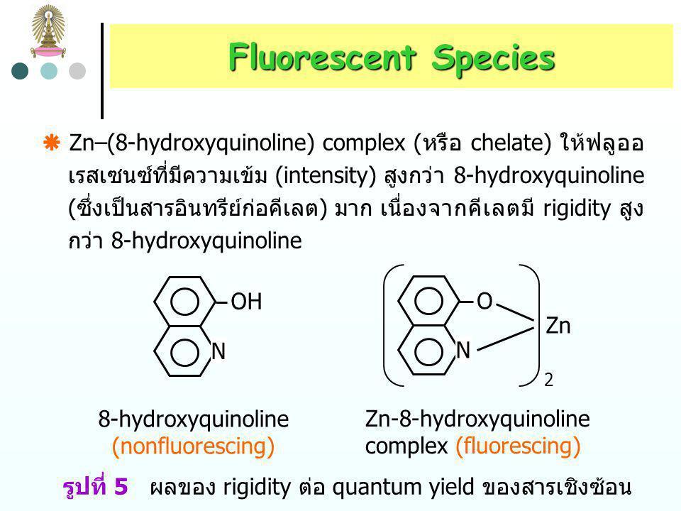 Fluorescent Species fluorene biphenyl   1  = 0.2 รูปที่ 4 ผลของ rigidity ต่อ quantum yield.  fluorene (ซึ่งโมเลกุล rigid เนื่องจากมี methylene gro