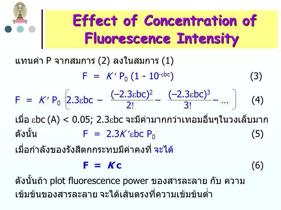 Effect of Concentration of Effect of Concentration of Fluorescence Intensity กำลังของ fluorescence radiation (F) เป็นสัดส่วนกับกำลังการ แผ่รังสี (radiant power) ของ excitation beam ที่ถูกดูดกลืน F = K (P 0 - P) (1) P 0 = กำลังของลำแสงที่ตกกระทบสารละลาย K = ค่าคงที่ ซึ่งขึ้นกับ quantum efficiency ของ fluorescence เพื่อแสดงความสัมพันธ์ของ F กับความเข้มข้น c ของ fluorescing species เขียน Beer's law ในรูป P/P 0 = 10 -  bc หรือ P = P 0 x 10 -  bc (2)  = molar absorptivity of fluorescing species  bc = absorbance (A)