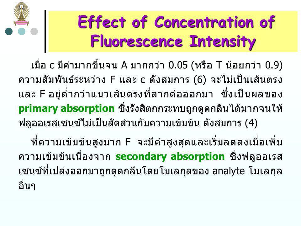 Effect of Concentration of Effect of Concentration of Fluorescence Intensity แทนค่า P จากสมการ (2) ลงในสมการ (1) F = K P 0 (1 - 10 -  bc ) (3) F = K P 0 2.3  bc – – – … (4) เมื่อ  bc (A) < 0.05; 2.3  bc จะมีค่ามากกว่าเทอมอื่นๆในวงเล็บมาก ดังนั้น F = 2.3K  bc P 0 (5) เมื่อกำลังของรังสีตกกระทบมีค่าคงที่ จะได้ F = K c (6) ดังนั้นถ้า plot fluorescence power ของสารละลาย กับ ความ เข้มข้นของสารละลาย จะได้เส้นตรงที่ความเข้มข้นต่ำ (–2.3  bc) 2 2  (–2.3  bc) 3 3 