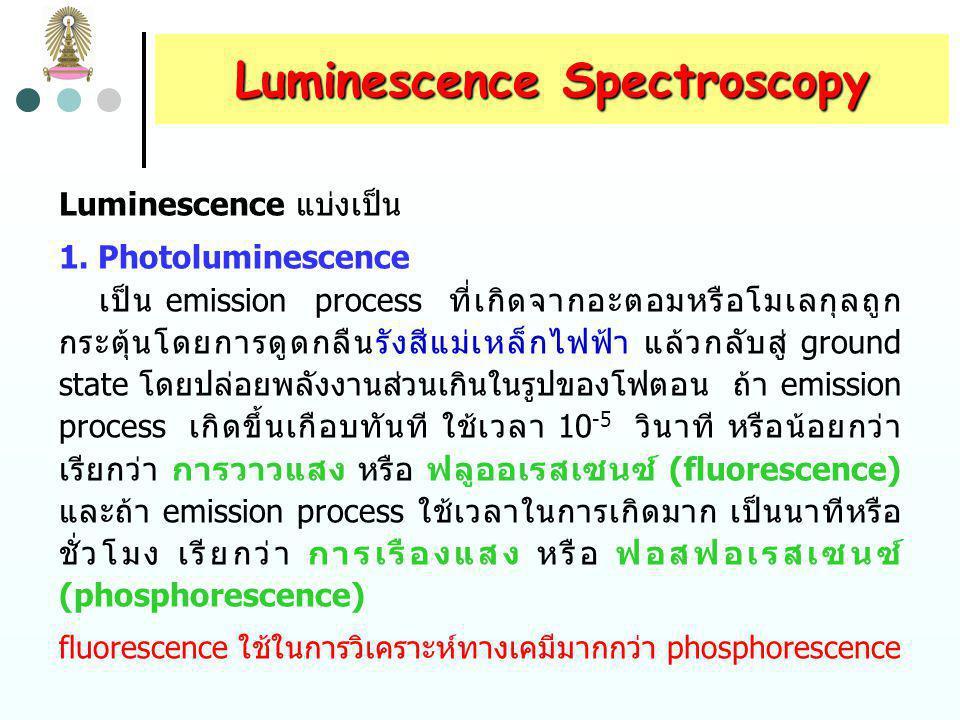 Chemiluminescence Methods chemiluminescence เกิดขึ้นเมื่อปฏิกิริยาเคมีทำให้เกิด eletronic excited molecule ซึ่งจะคายรังสีเมื่อกลับสู่ ground state chemiluminescence reactions ส่วนหนึ่งพบในระบบ ชีวภาพ กระบวนการที่เกิดขึ้นมักเรียกว่า bioluminescence เช่น หิ่งห้อย แมงกระพรุนบางชนิด แบคทีเรีย โปรโตซัว และ crustacea chemiluminescence ใช้เครื่องมือที่ง่าย เนื่องจากไม่ต้องใช้ external source สำหรับ excitation และไม่ต้องใช้ wavelength selector เครื่องมือจะประกอบด้วย reaction vessel และ photomultiplier tube เท่านั้น