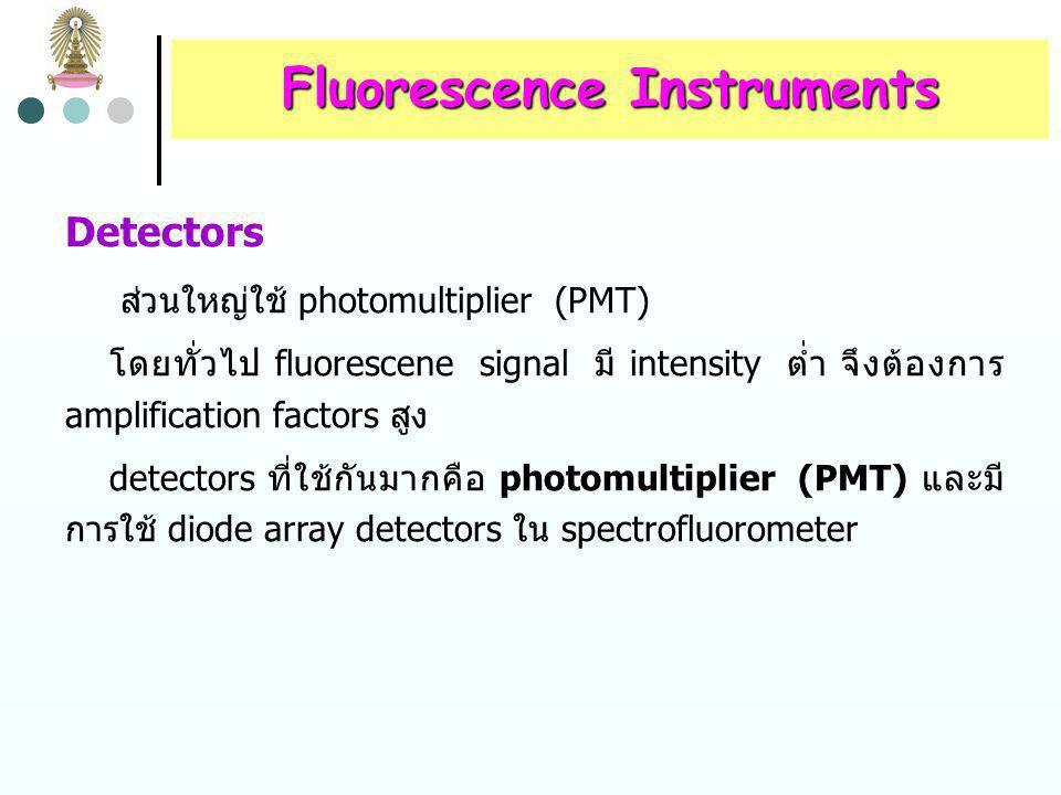 Fluorescence Instruments Cells and Cell Compartments การวัดฟลูออเรสเซนซ์ใช้ cylindrical และ rectangular cells ที่ ทำด้วยแก้วหรือซิลิกา การออกแบบ cell compartment ต้องระวังเพื่อลดปริมาณ scattered radiation ที่เข้าสู่ detector จึงมักมี baffles ใน cell compartment