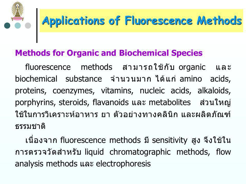 Applications of Fluorescence Methods IonReagent Wavelength, nm Sensitivity  g/mL AbsorptionFluorescence Al 3+ alizarin garnet R47050010.007 F-F- Al complex ของ alizarin garnet R (quenching) 4705000.001 B 4 O 7 2- Benzoin3704500.04 Cd 2+ 2-(o-Hydroxyphenyl)- benzoxazole 365Blue2 Li + 8-hydroxyquinoline3705800.2 Sn 4+ Flavanol4004700.1 Zn 2+ Benzoin--Green10 ตารางที่ 2 Selected Fluorescence Methods for Inorganic Species