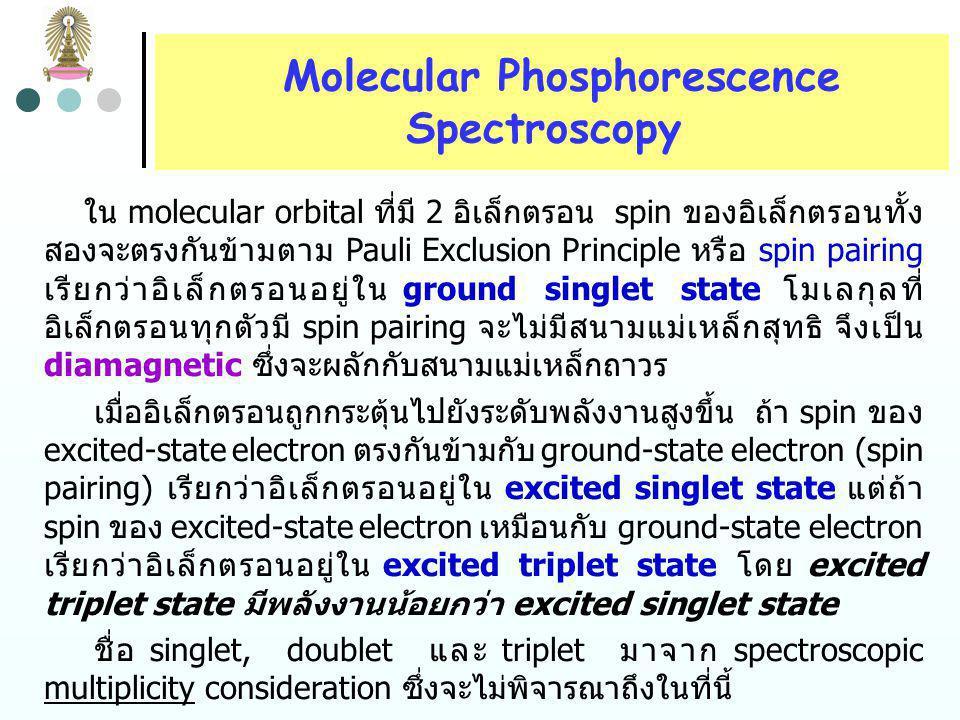 Molecular Phosphorescence Spectroscopy Electron Spins แต่ละอะตอมในโมเลกุลมีสนามแม่เหล็ก ซึ่งเกิดจากการ หมุนรอบแกนของอิเล็กตรอน โดยถือว่ามี 2 quantized spin state เท่านั้นที่เป็นไปได้ ทิศทางการหมุนและทิศทางของ สนามแม่เหล็กที่เกิดขึ้นในแต่ละ spin state มีทิศทางตรงกันข้าม 2 quantized spin state of electron