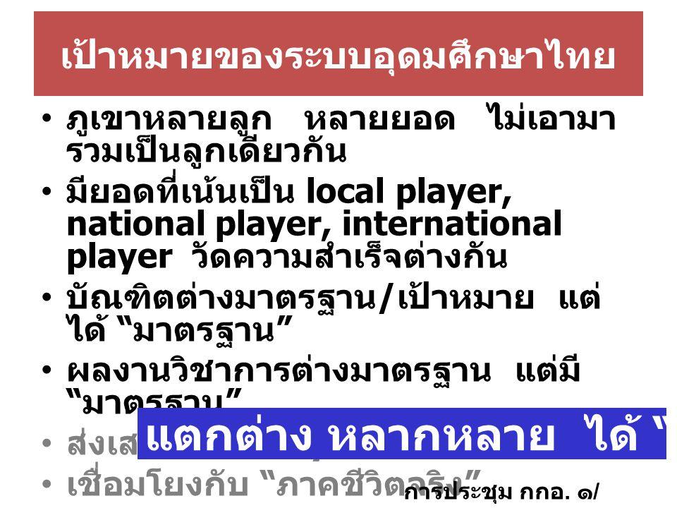 เป้าหมายของระบบอุดมศึกษาไทย ภูเขาหลายลูก หลายยอด ไม่เอามา รวมเป็นลูกเดียวกัน มียอดที่เน้นเป็น local player, national player, international player วัดความสำเร็จต่างกัน บัณฑิตต่างมาตรฐาน / เป้าหมาย แต่ ได้ มาตรฐาน ผลงานวิชาการต่างมาตรฐาน แต่มี มาตรฐาน ส่งเสริม mobility ของ อจ.