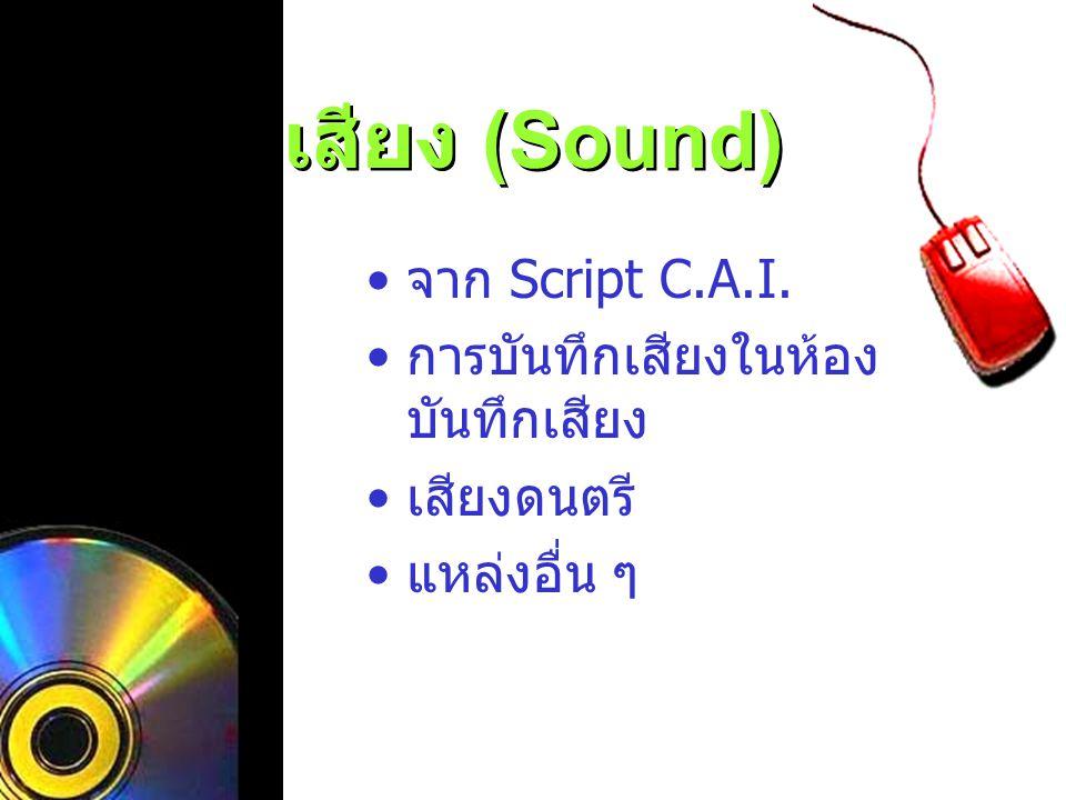 เสียง (Sound) จาก Script C.A.I. การบันทึกเสียงในห้อง บันทึกเสียง เสียงดนตรี แหล่งอื่น ๆ