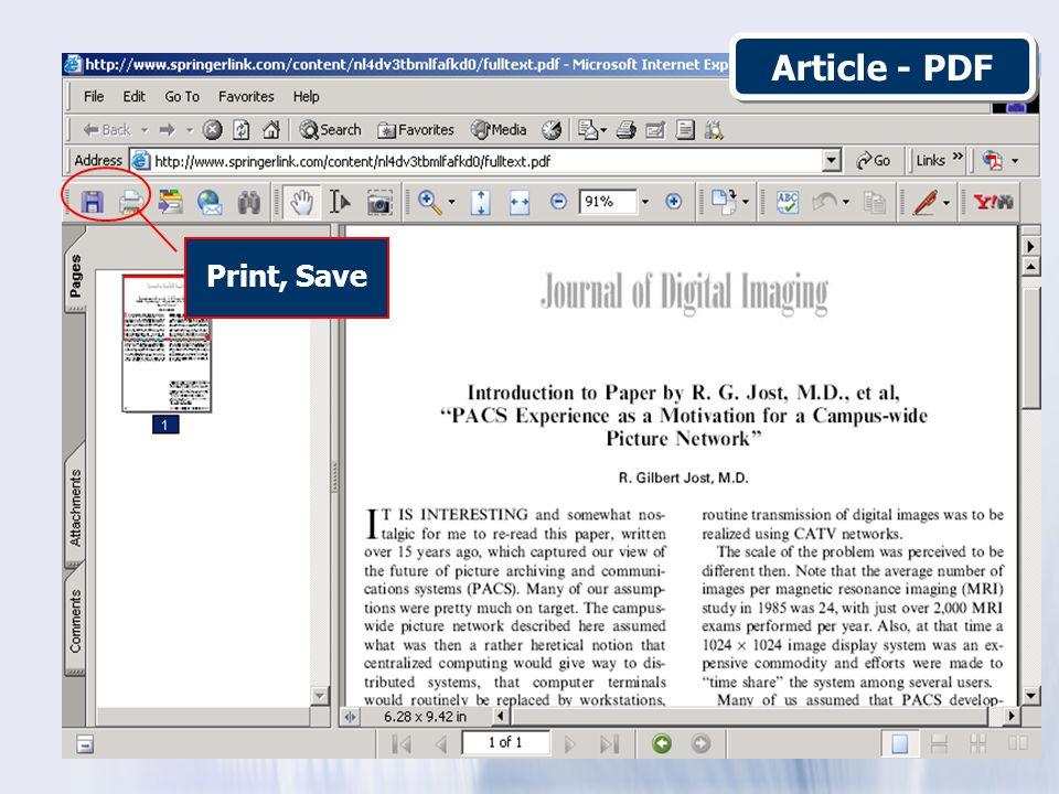 Print, Save Article - PDF