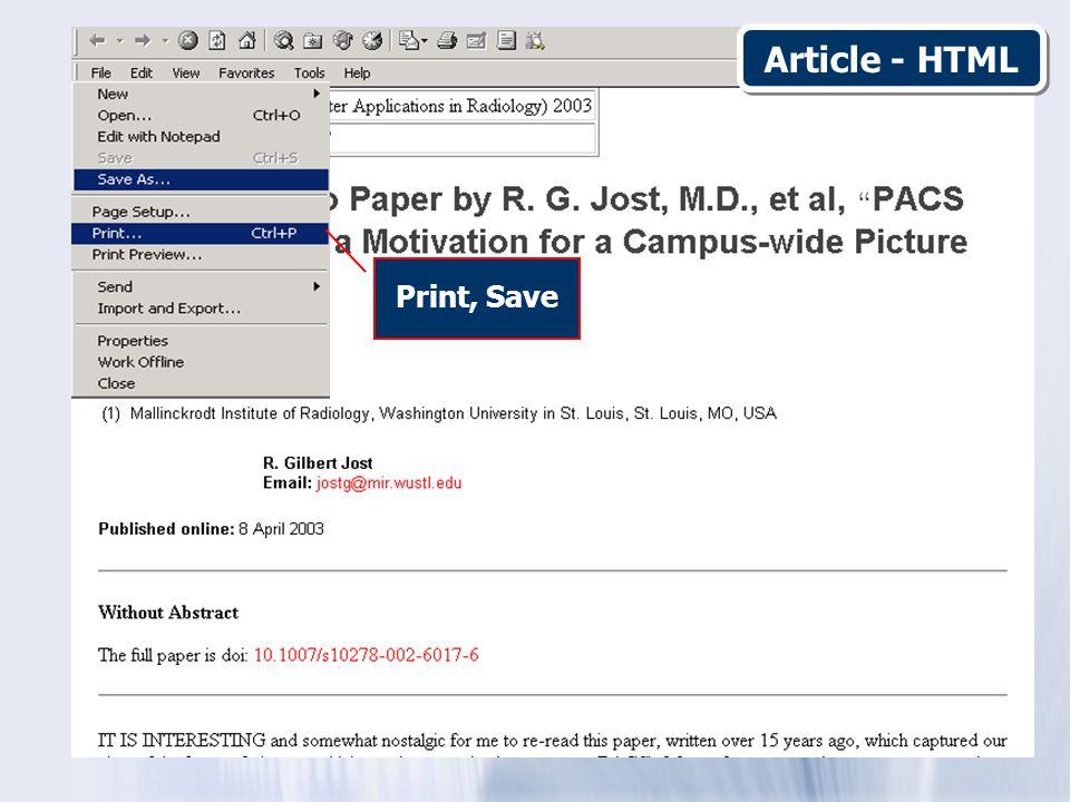Print, Save Article - HTML