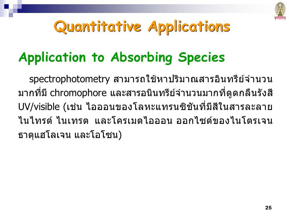 25 Application to Absorbing Species spectrophotometry สามารถใช้หาปริมาณสารอินทรีย์จำนวน มากที่มี chromophore และสารอนินทรีย์จำนวนมากที่ดูดกลืนรังสี UV/visible (เช่น ไอออนของโลหะแทรนซิชันที่มีสีในสารละลาย ไนไทรต์ ไนเทรต และโครเมตไอออน ออกไซด์ของไนโตรเจน ธาตุแฮโลเจน และโอโซน) Quantitative Applications