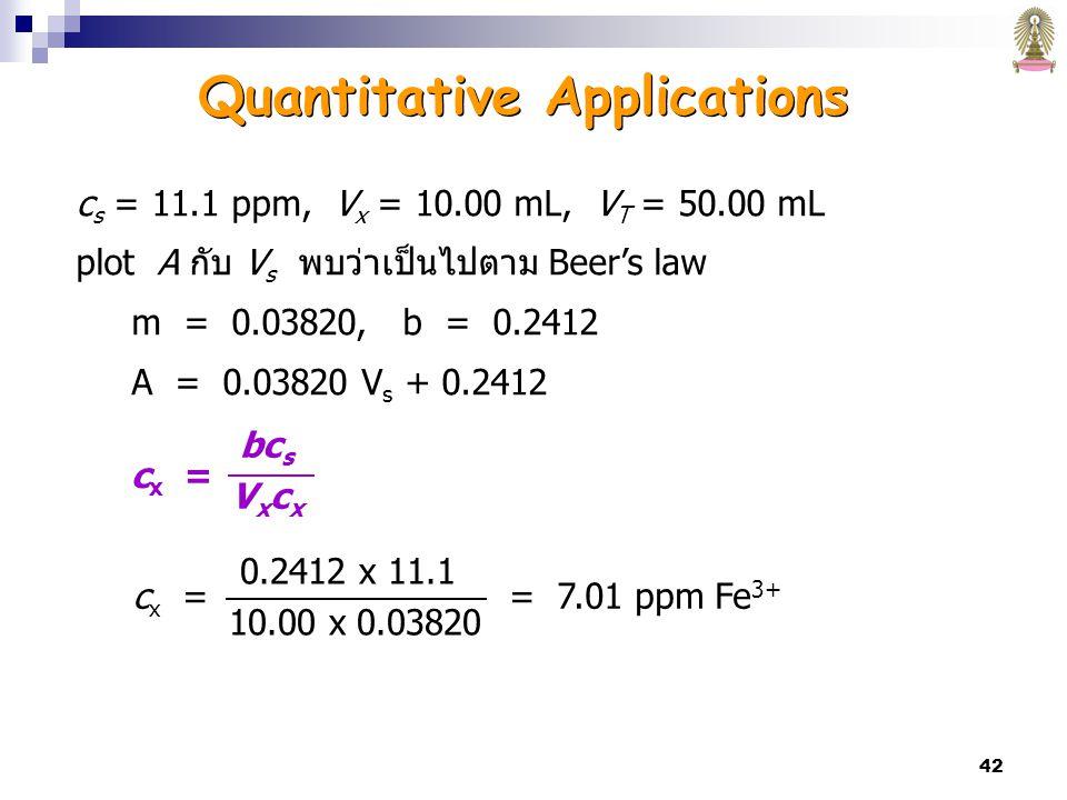 42 c s = 11.1 ppm, V x = 10.00 mL, V T = 50.00 mL plot A กับ V s พบว่าเป็นไปตาม Beer's law m = 0.03820, b = 0.2412 A = 0.03820 V s + 0.2412 0.2412 x 11.1 10.00 x 0.03820 c x = = 7.01 ppm Fe 3+ c x = bc s V x c x Quantitative Applications