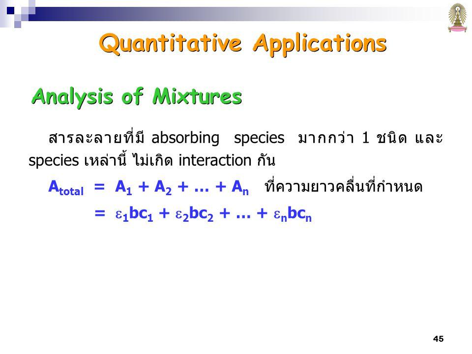 45 Analysis of Mixtures สารละลายที่มี absorbing species มากกว่า 1 ชนิด และ species เหล่านี้ ไม่เกิด interaction กัน A total = A 1 + A 2 + … + A n ที่ความยาวคลื่นที่กำหนด =  1 bc 1 +  2 bc 2 + … +  n bc n Quantitative Applications