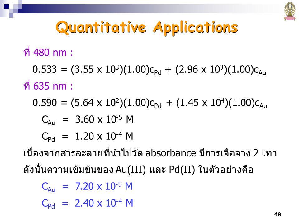 49 ที่ 480 nm : 0.533 = (3.55 x 10 3 )(1.00)c Pd + (2.96 x 10 3 )(1.00)c Au ที่ 635 nm : 0.590 = (5.64 x 10 2 )(1.00)c Pd + (1.45 x 10 4 )(1.00)c Au C Au = 3.60 x 10 -5 M C Pd = 1.20 x 10 -4 M เนื่องจากสารละลายที่นำไปวัด absorbance มีการเจือจาง 2 เท่า ดังนั้นความเข้มข้นของ Au(III) และ Pd(II) ในตัวอย่างคือ C Au = 7.20 x 10 -5 M C Pd = 2.40 x 10 -4 M Quantitative Applications