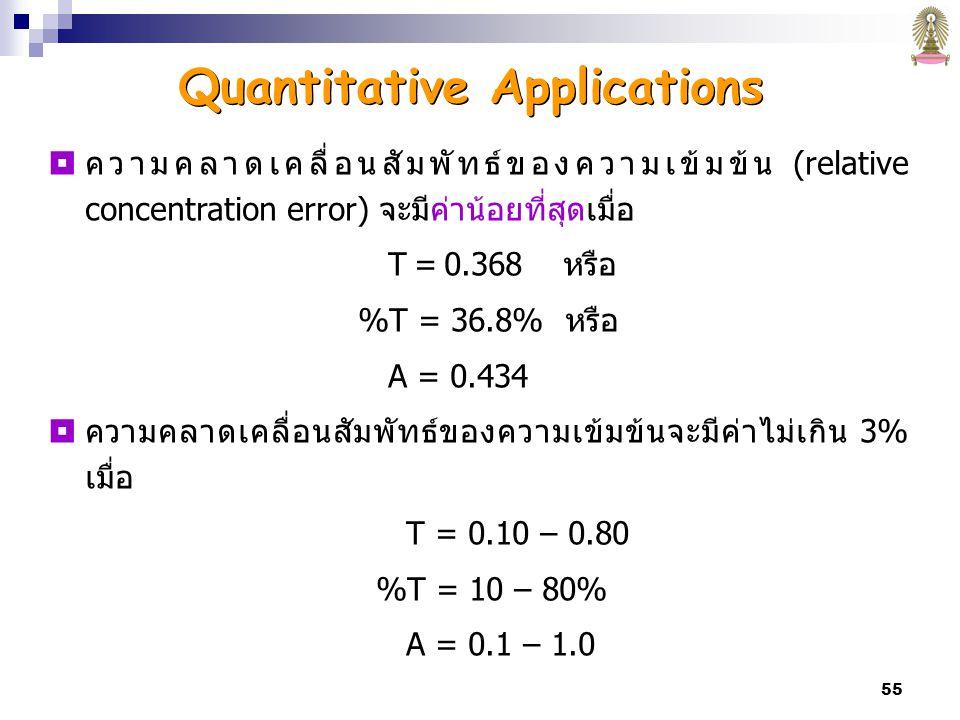 55  ความคลาดเคลื่อนสัมพัทธ์ของความเข้มข้น (relative concentration error) จะมีค่าน้อยที่สุดเมื่อ T = 0.368 หรือ %T = 36.8% หรือ A = 0.434  ความคลาดเคลื่อนสัมพัทธ์ของความเข้มข้นจะมีค่าไม่เกิน 3% เมื่อ T = 0.10 – 0.80 %T = 10 – 80% A = 0.1 – 1.0 Quantitative Applications